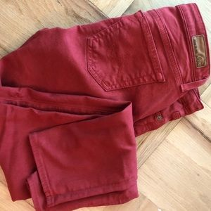 AG Stevie Ankle Jeans Anthropologie Red